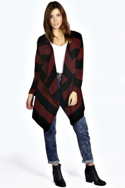 Paige Striped Oversized Waterfall Cardigan | Fashion Loves ...