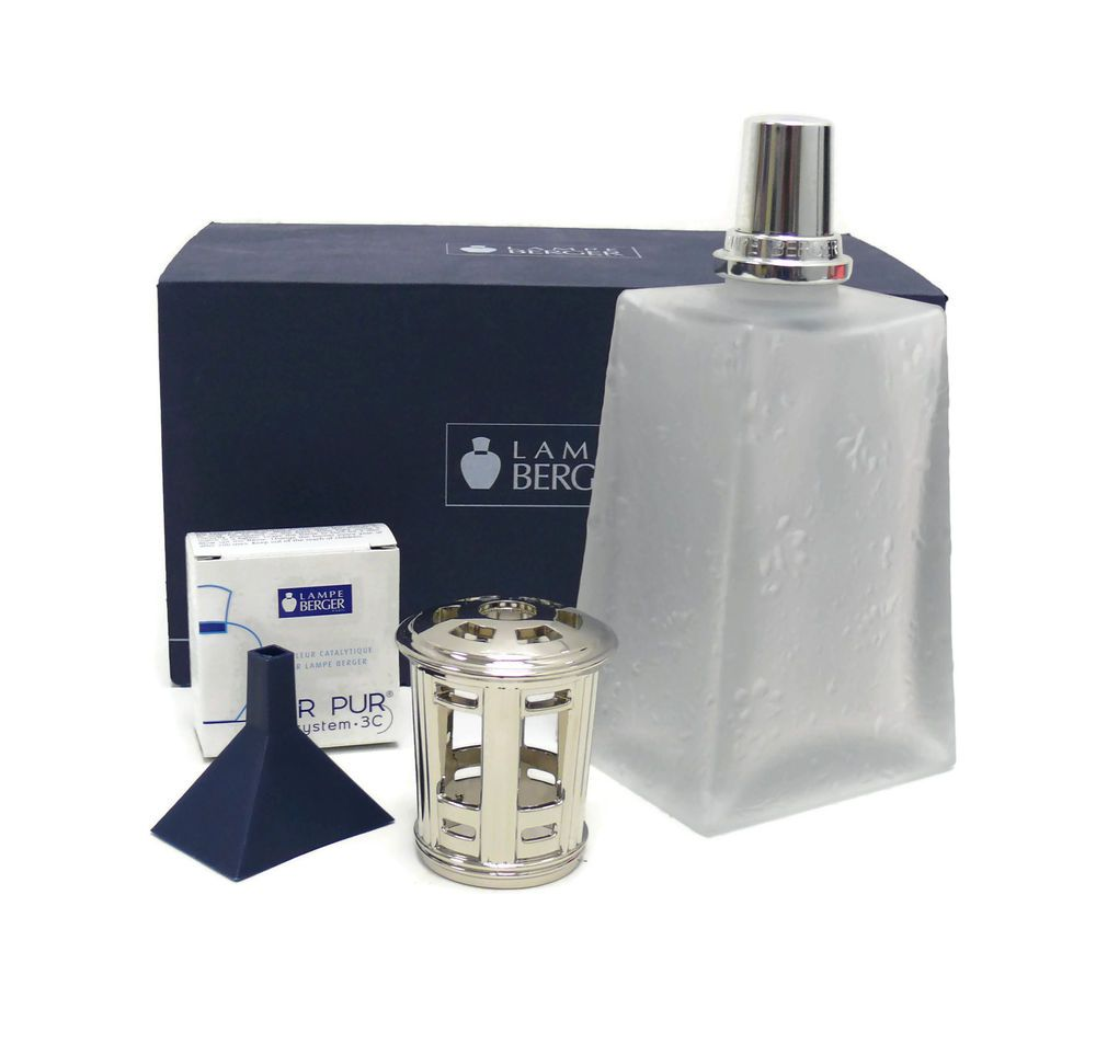 Retired Lampe Berger Fragrance Lamp Frosted Ottoman 3234 Embossed Frosted Glass Lampeberger Fragrance Frosted Glass Lamp