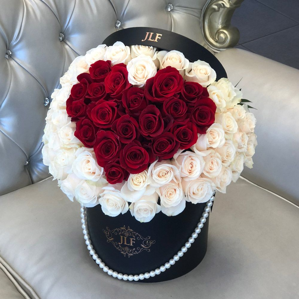 Signature Heart Rose Box With Pearl Handle JLF Flower