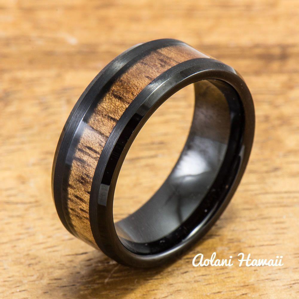 Black tungsten ring with hawaiian koa wood inlay mm width barrel