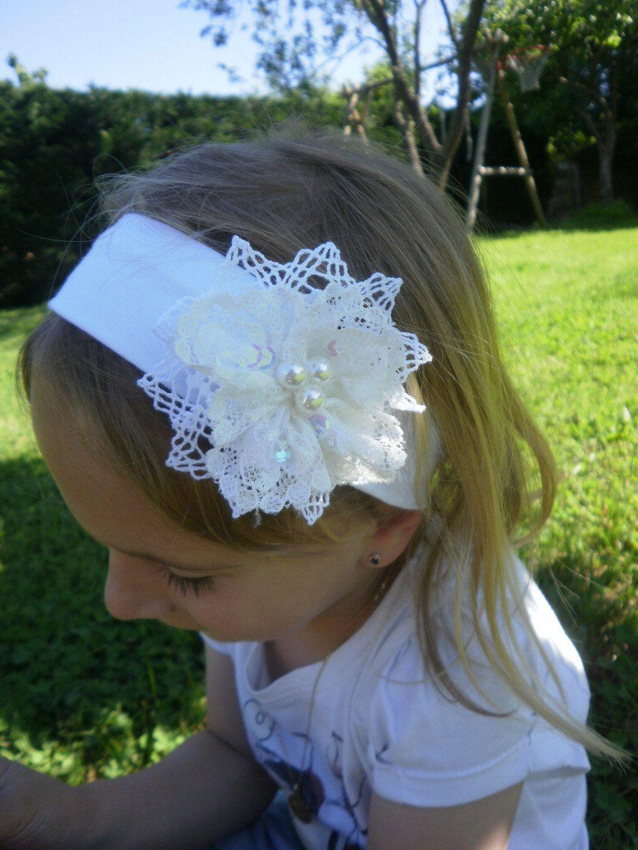 Bébé Fille Blanc Baptême bandeau baptême mariage dentelle fleur perle UK