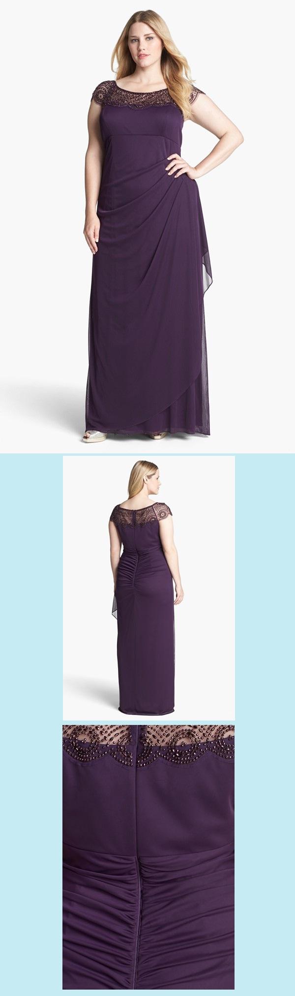 Nordstrom Rack. Xscape. Beaded Yoke Mesh Gown (Plus Size). | Plus ...