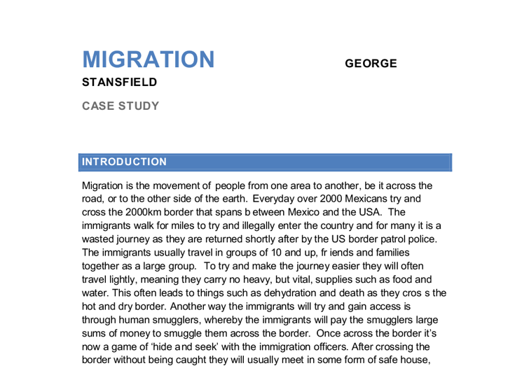 Short essay about immigration