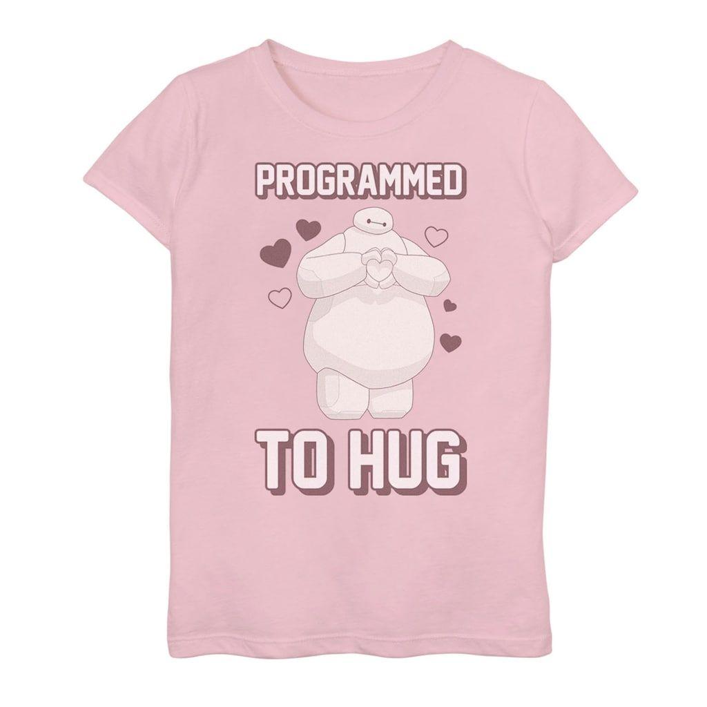 Girls 7-16 Disney's Big Hero 6 Baymax Heart Programmed To Hug Tee, Girl's, Size: Medium, Pink