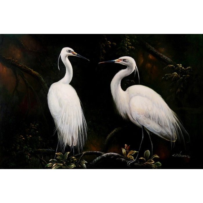ON SALE! - Egret Pair - III - $59.99 - Cranes, Herons, and Storks - Hand Painted - Oil Paingings for Sale - Oil on Canvas - Cheap Canvas Art