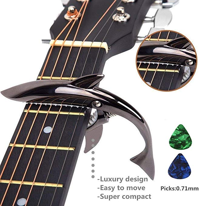 Amazon Com Imelod Zinc Alloy Guitar Capo Shark Capo For Acoustic And Electric Guitar With Good Hand Feeling No Fret Buzz A Electric Guitar Guitar Guitar Capo