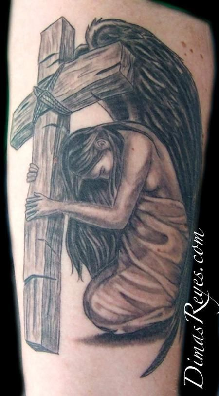 2a411b5b8c1c3 black and grey tattos angels | Black and Grey Angel with Cross Tattoo :  Tattoos :