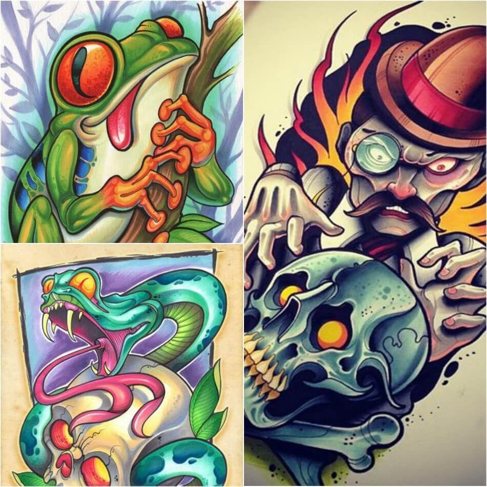 18++ Stunning New school tattoo flash ideas