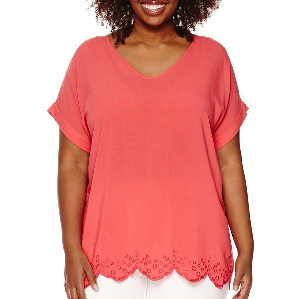 Liz Claiborne® Short-Sleeve V-Neck Scalloped Hem Top - Plus - JCPenney