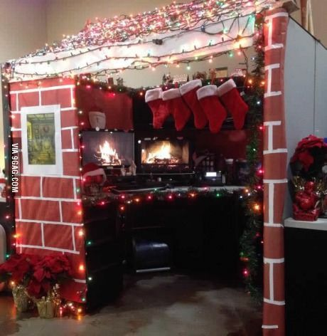 office cubicle christmas decoration. Christmas Cabin For \u0027Best Decorated Cubicle Contest\u0027 Office Decoration O