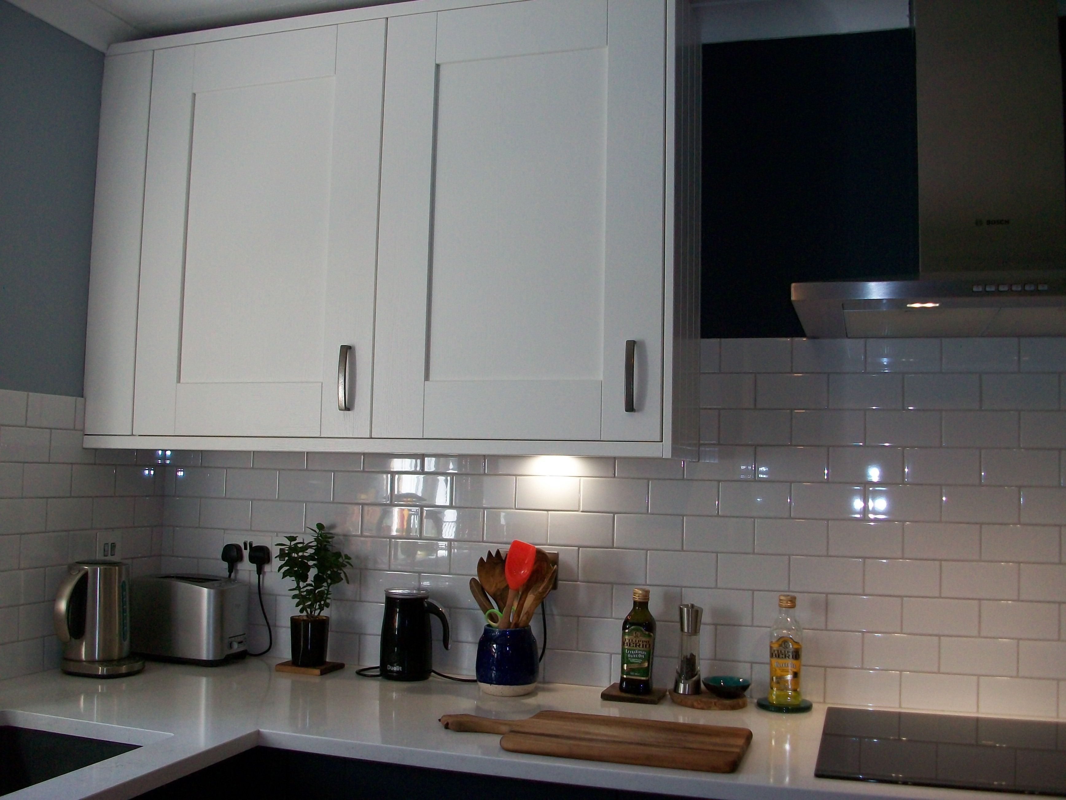 Kitchen Tiles London kitchen makeover white/blue subway tiles white grey grout white