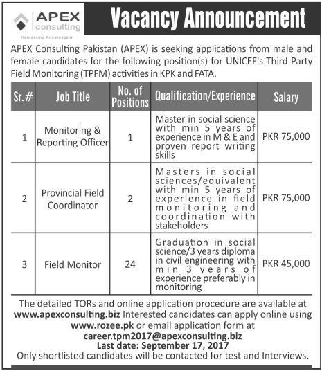 Apex Consulting Pakistan Jobs  In Kpk And Fata For Monitoring