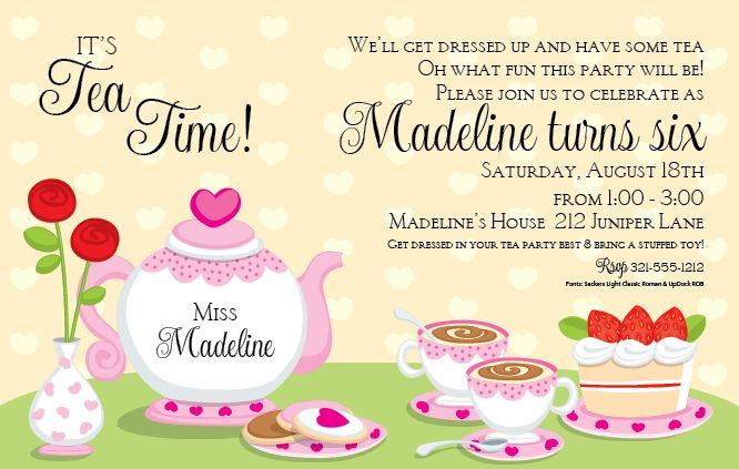 Tea Party Invitation Template Word Annoucements Invitations