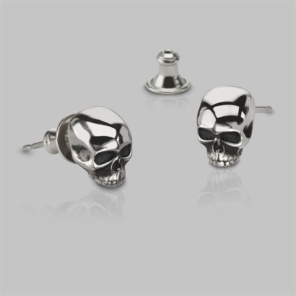 901b5f07c Small skull stud earrings handmade in our London workshop in a variety of  solid precious metal options including silver and 9ct yellow gold.
