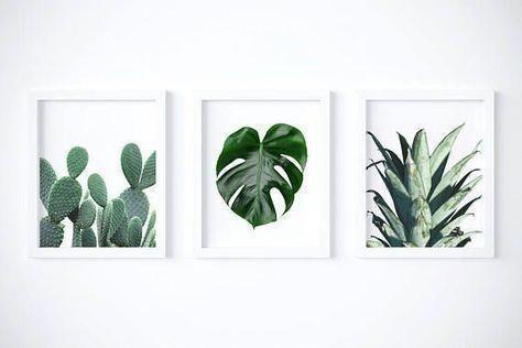 Set of 3 Botanical Prints Digital Download | Succulent Cactus, Monstera Pineapple Wall Art Digital Prints| Tropical Boho Rustic Wall Decor images