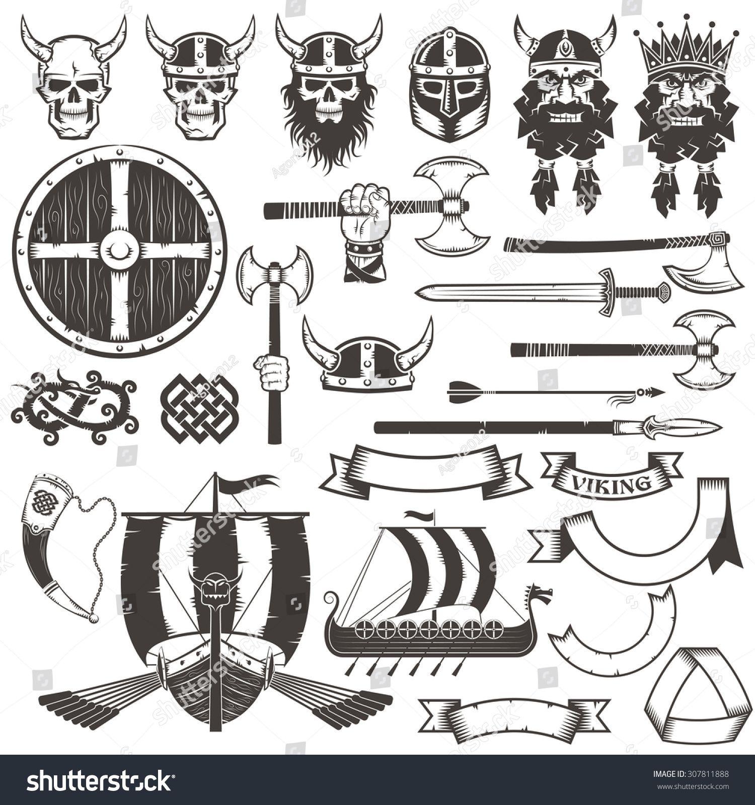 Set Viking Items Skull Horned Helmet Face Of Warrior Shield Ax Sword Arrow Spear Dragon Ribbons Ban Viking Helmet Tattoo Viking Sword Tattoo Vikings