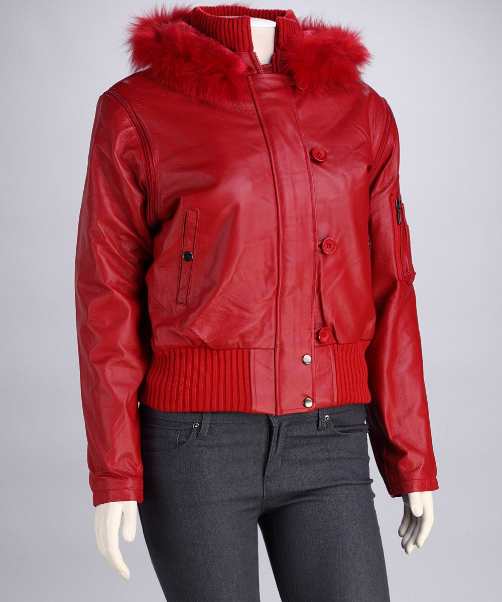 Lebaz Red Faux FurTrim Hooded Leather Jacket Leather