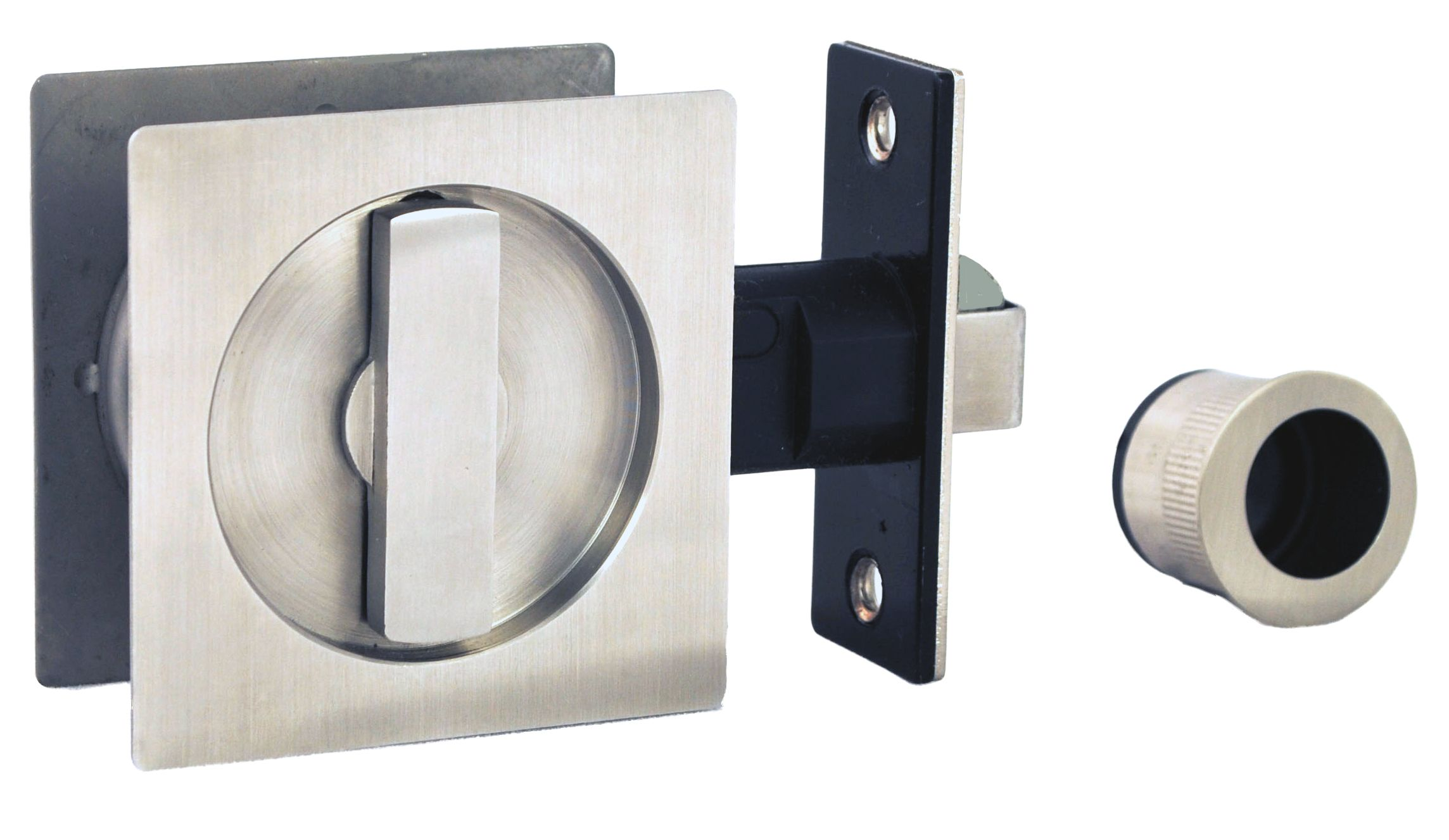 NIDUS  SLIDING DOOR ACCESSORIES  Square Cavity Sliding Door Privacy Set CSDL-SS Stainless Steel CSDL-PSS/SS Polished Stainless Steel with SS inner circle section CSDL-SN2-SS (Snib both sides) Stainless Steel