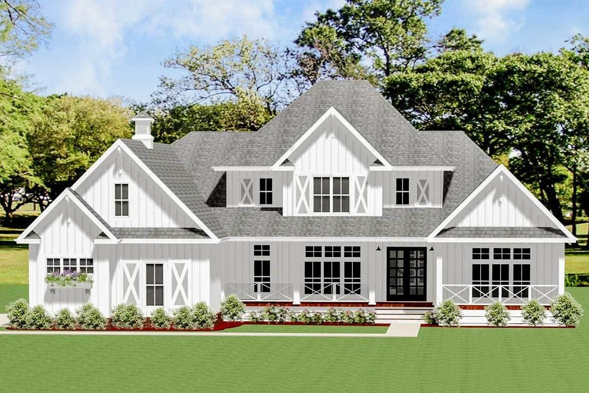 Exclusive 4-Bed Farmhouse Plan with Outdoor Kitche