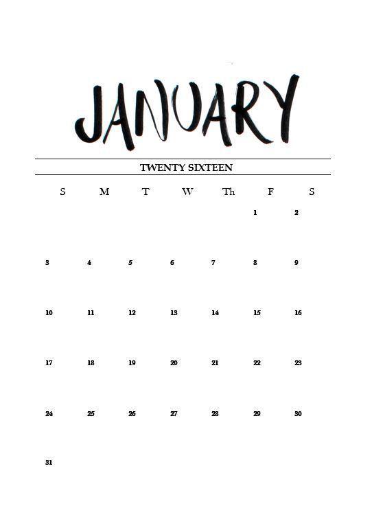 Free Printable January 2016 Calendar Imprimir Sobres
