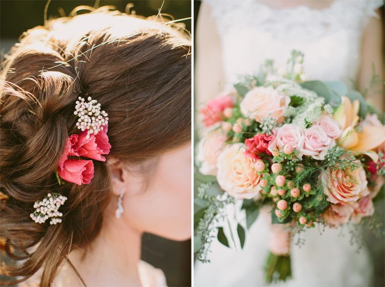peach and coral wedding, brides hair do, floral in hair, at Bingham House McKinney TX, coral and peach bouquet, By Dallas Wedding Photographer Stephanie Brazzle Photography