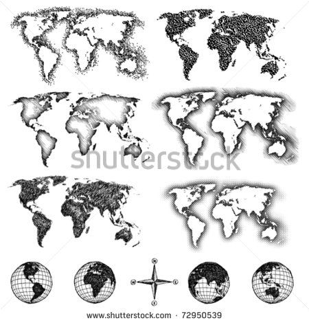 World map design elements pixels lines doodle halftone four world map design elements pixels lines doodle halftone four views of gumiabroncs Choice Image