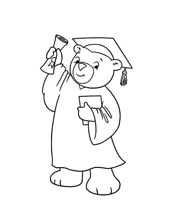 Graduation Graduation Bear Show His Diploma Coloring Pages