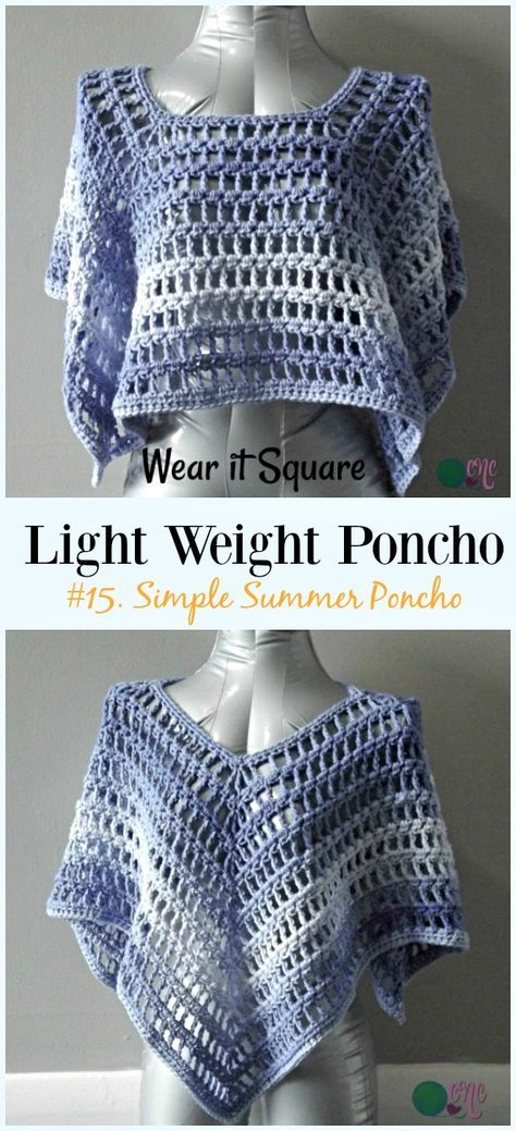 Light Weight Spring Summer Poncho Free Crochet Patterns Pinterest