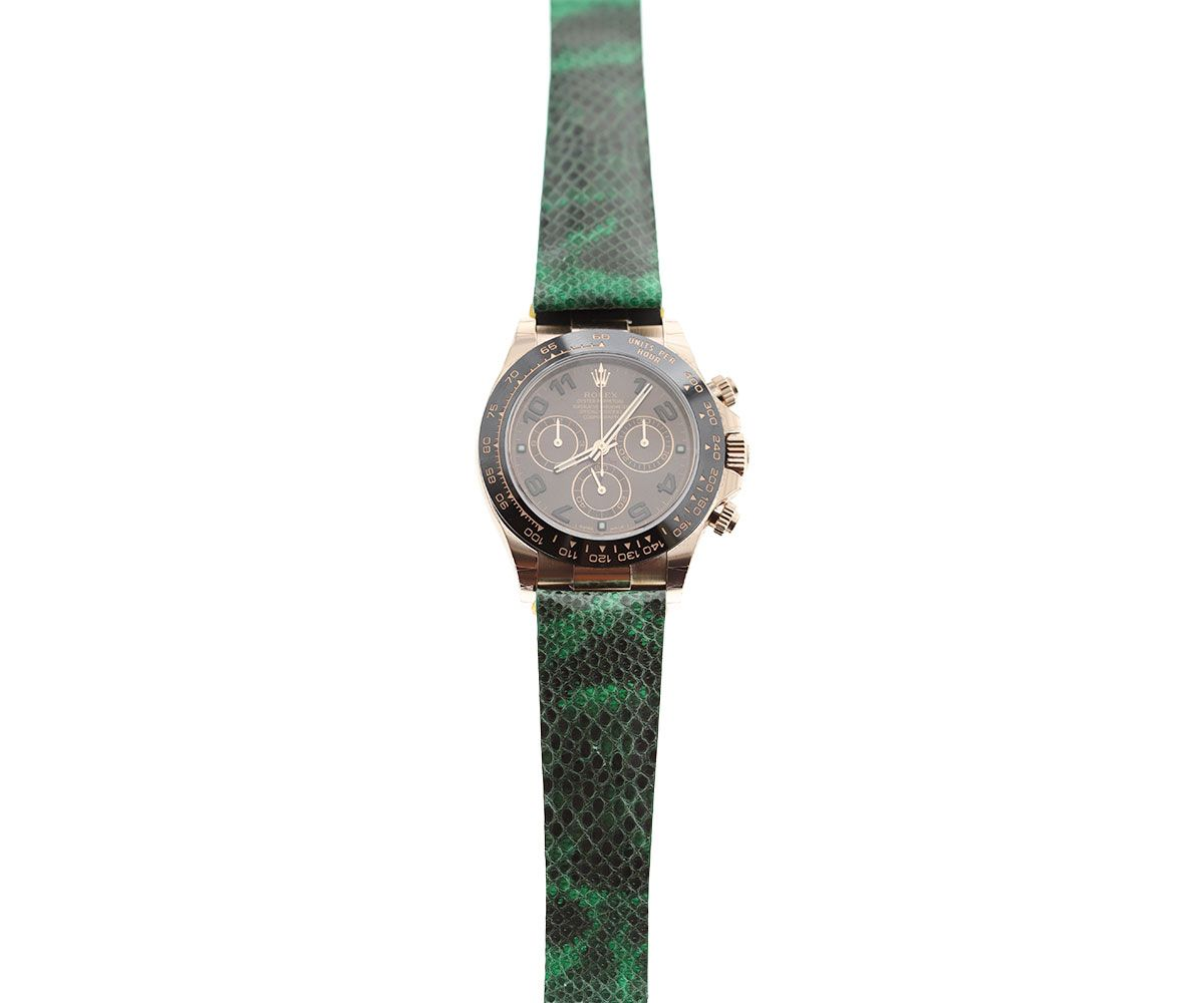 Camo Green Exotic Karung Snake Leather Strap for Rolex Daytona Watches 20mm by Visconti Milano  #rolexdaytona