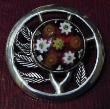 Beautiful Caithness Silver and Millifiori Brooch