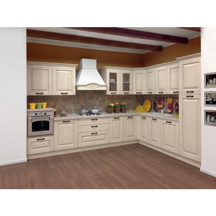 Cucina in legno massello tutta bianca decapè completa di ...