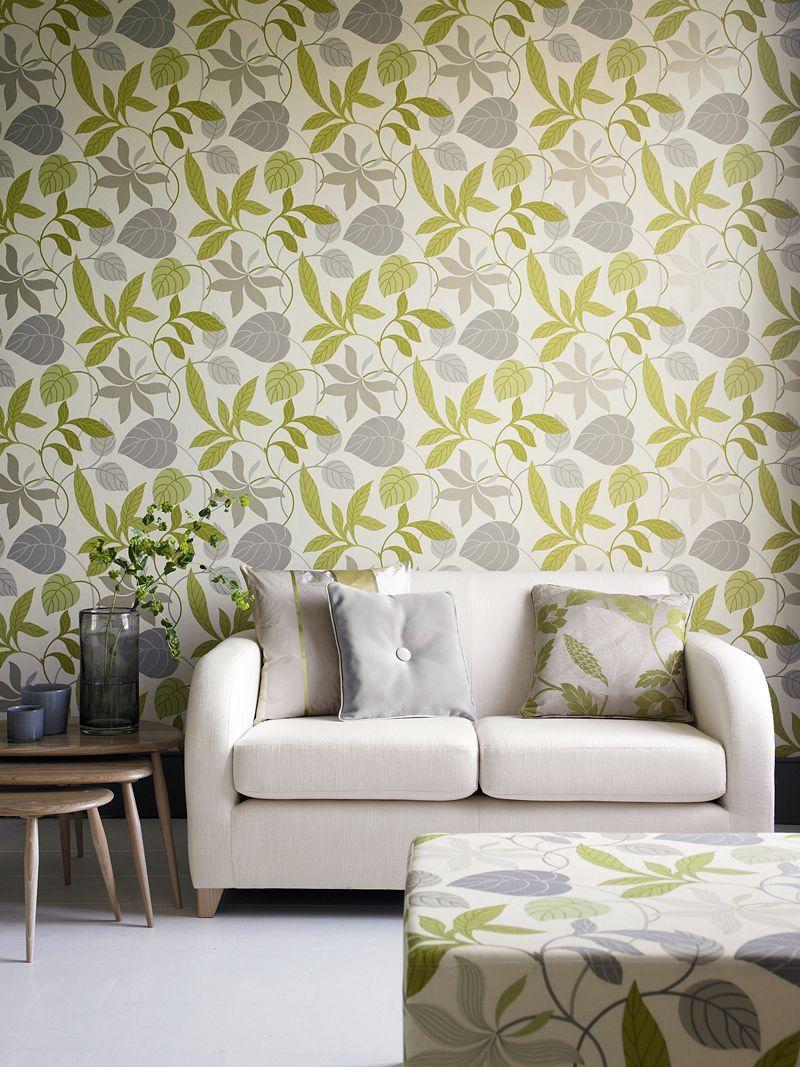 Buy Sanderson Wallpaper Folia Diowfo102 Lime Charcoal On