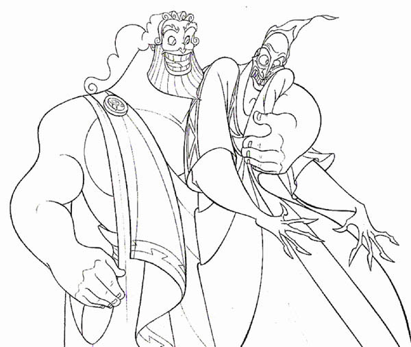 Hercules Father Zeus Hug Hades Tight Coloring Pages Bulk Color Coloring Pages Coloring Pictures Hercules