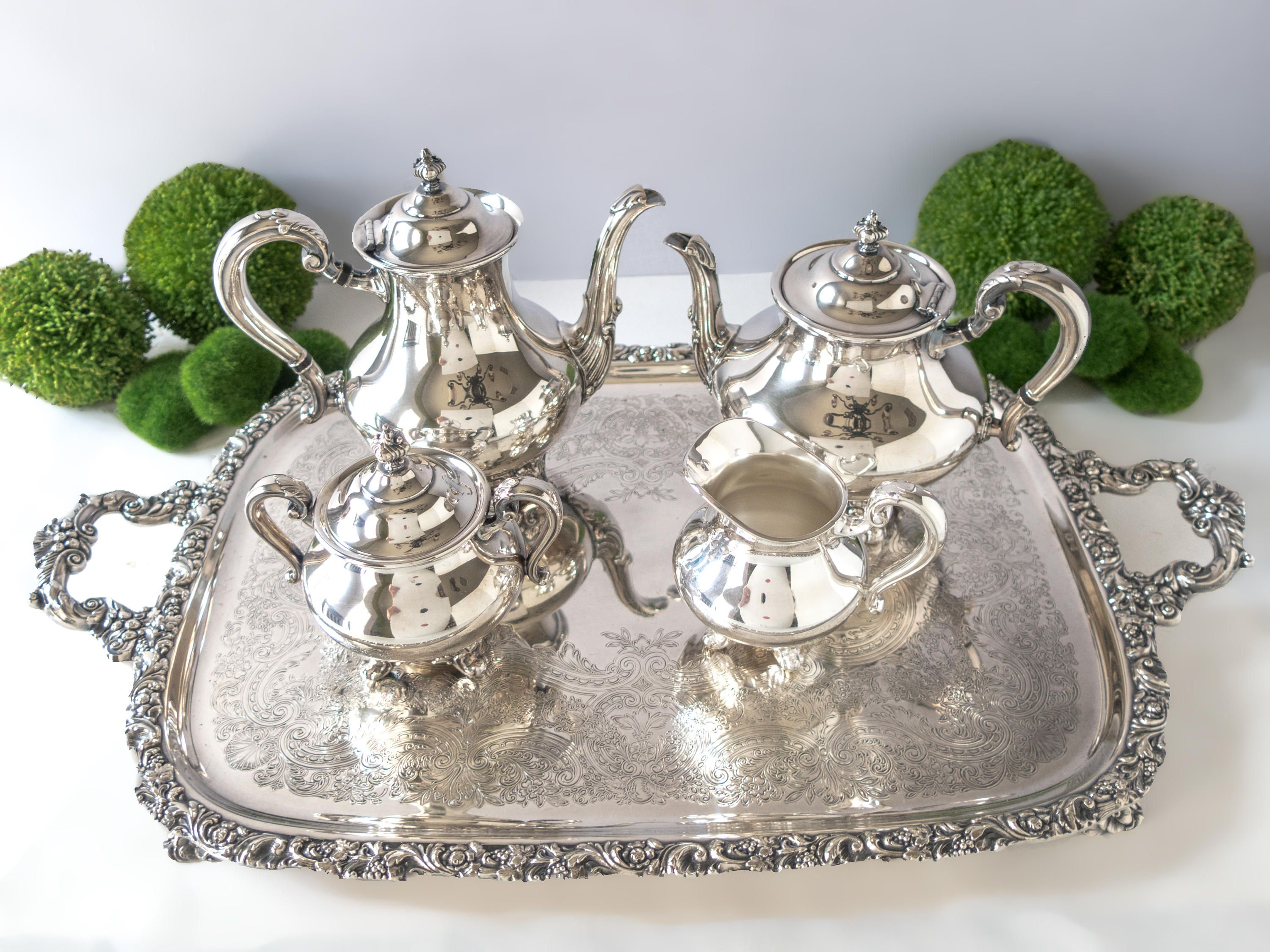 Vintage Silver Plate Coffee Tea Service Set With Tray Reed Barton ...