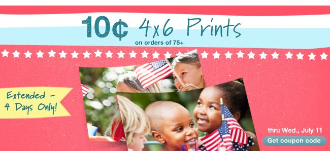 10 Cent 4x6 Prints through Wednesday at Walgreen's Online