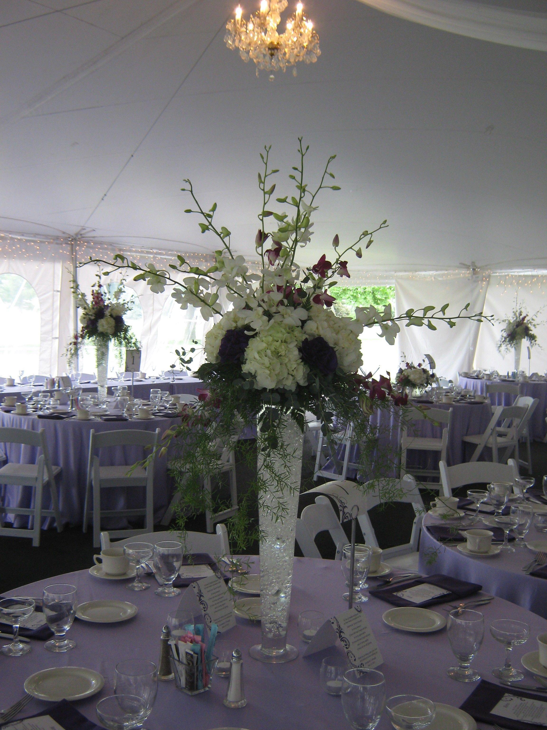 Tall Wedding Flower Arrangements Purple And Lavender Wedding
