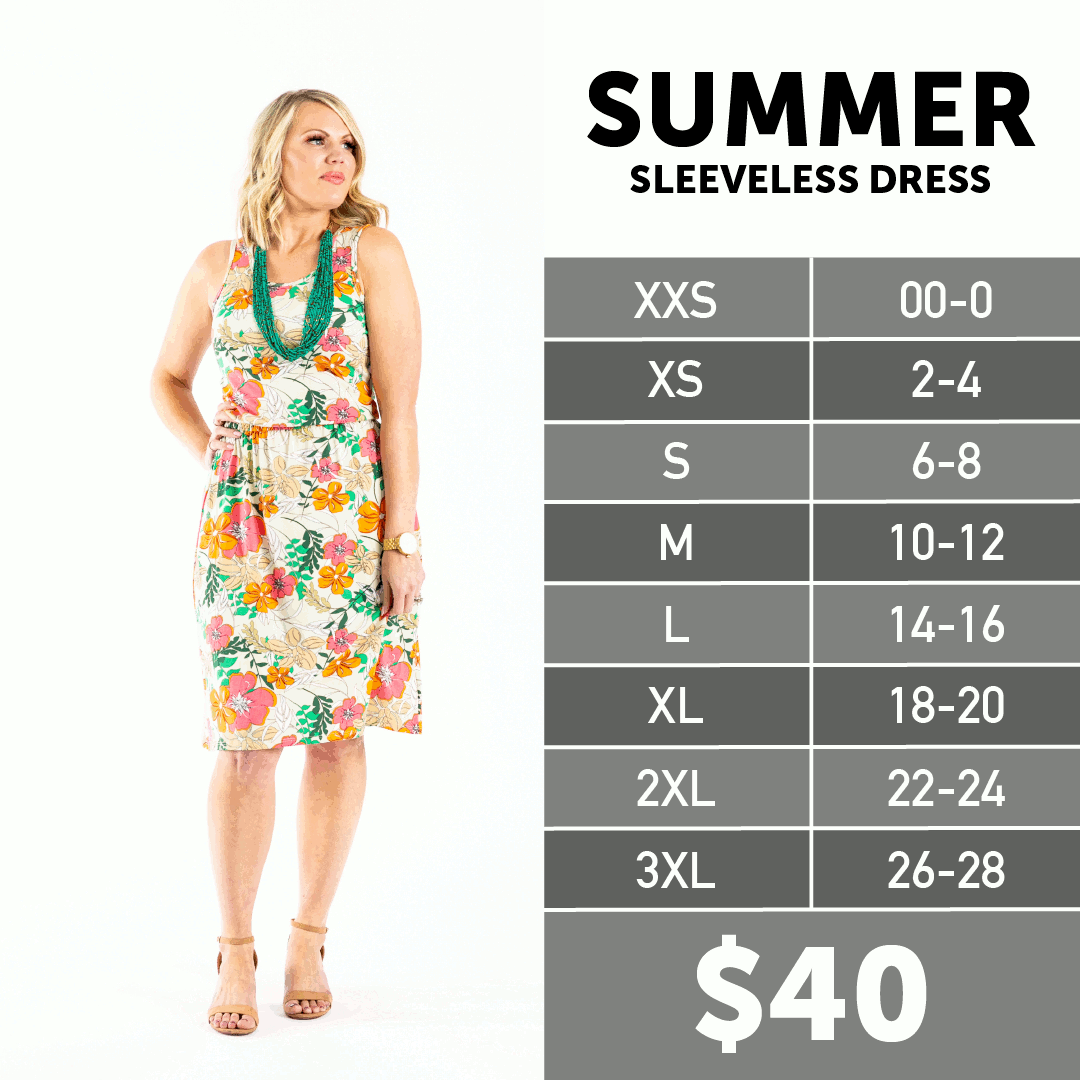 2020 Lularoe Summer Size Chart Sleeveless Dress Summer Size Chart Dress Size Chart [ 1080 x 1080 Pixel ]