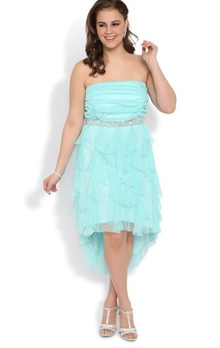 Plus Size High Low Prom Dress With Stone Waist And Tendril Skirt