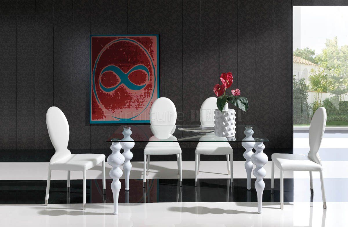 white modern dining room sets. Modern Ball Leg Tables | Glass Top \u0026 White Legs Dining Table W/Options Room Sets A