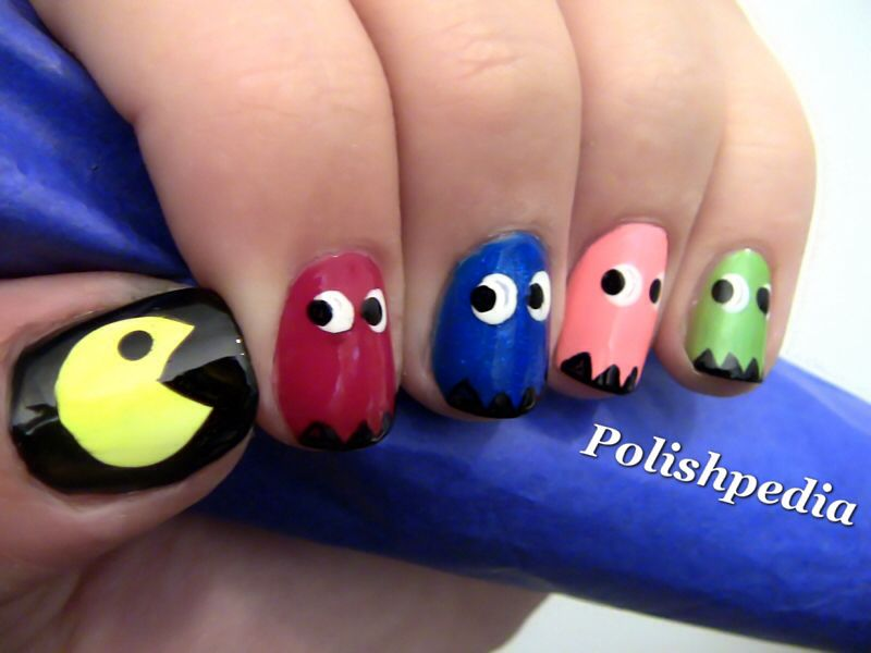 PacMan and Ghosts!! Nail art Design for a arcade lover.