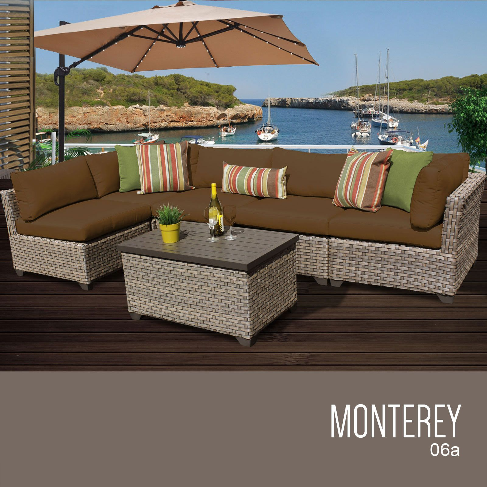 Monterey 6 Piece Outdoor Wicker Patio Furniture Set 06a at