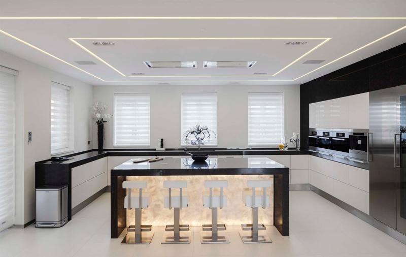 Design et conception cuisine 80 cuisines l gantes - Eclairage bar cuisine ...
