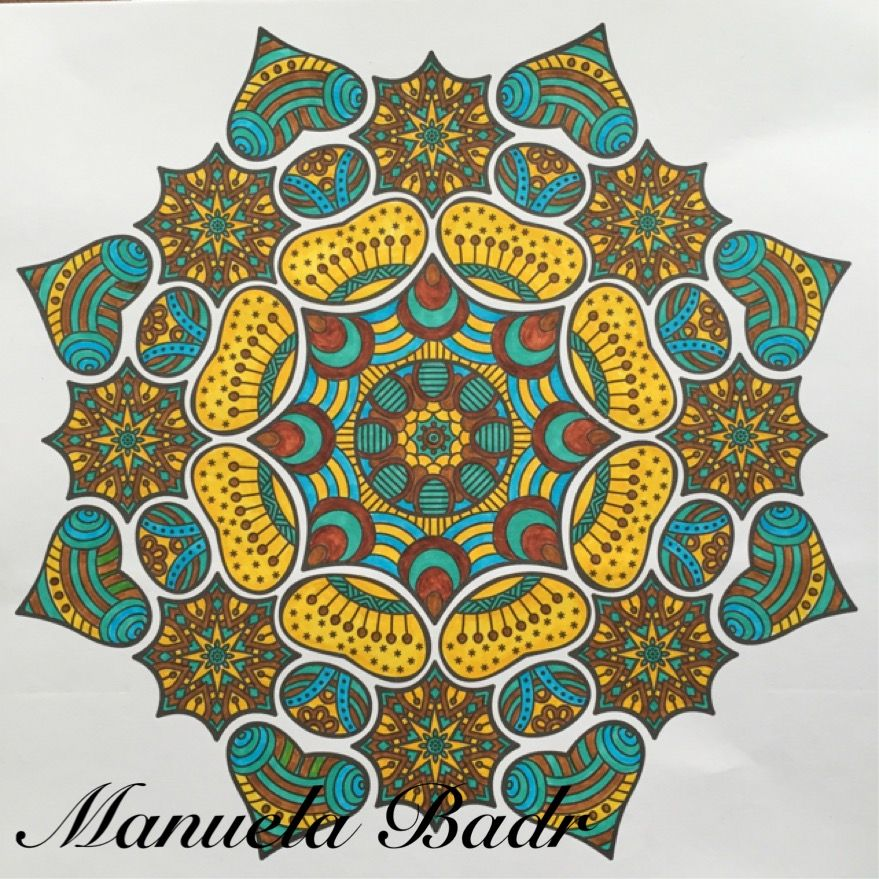 Uit Denksport Mandala ritme in kleur nr 1 | Gekleurd met Stabilo stiften | 15-07-2015