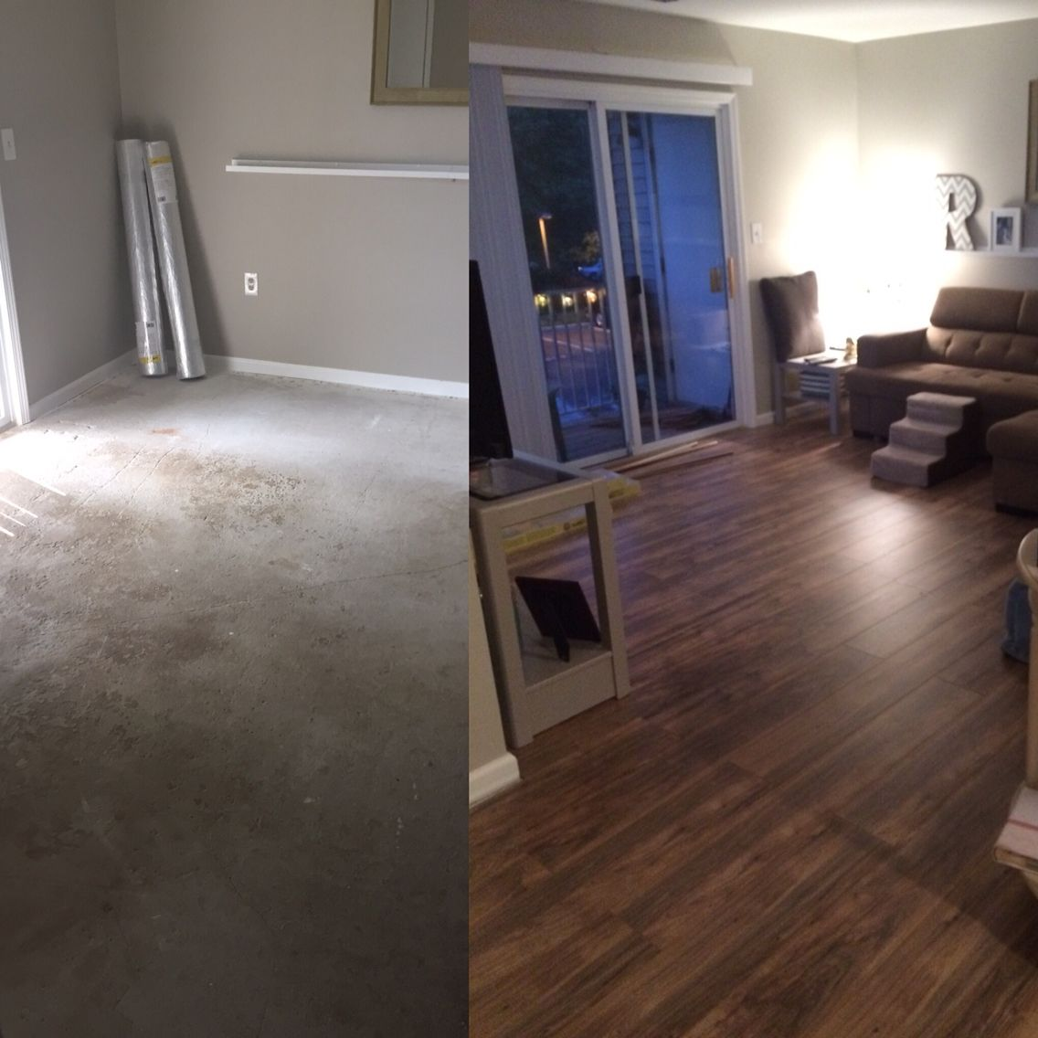 Before and after floors in living room cement to laminate by before and after floors in living room cement to laminate by traffic master in lakeshore dailygadgetfo Choice Image