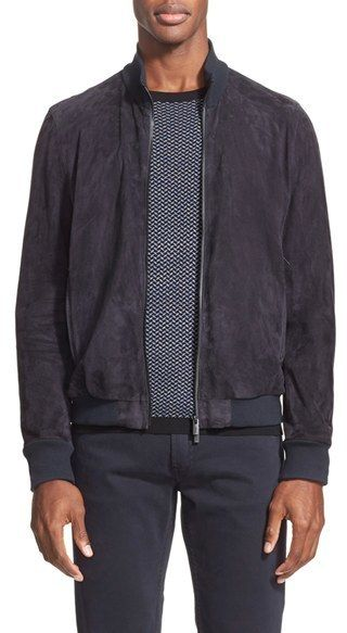 $1,995, Armani Collezioni Suede Bomber Jacket. Sold by Nordstrom. Click for more info: https://lookastic.com/men/shop_items/414273/redirect