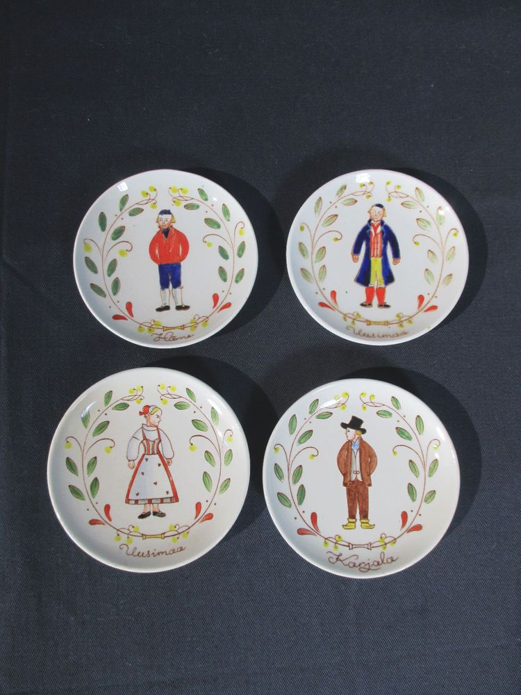 Arabia Plates Finnish National Costumes Hand Painted Set of 4 Butter Pats Decor #Arabia #Finland & Arabia Plates Finnish National Costumes Hand Painted Set of 4 Butter ...