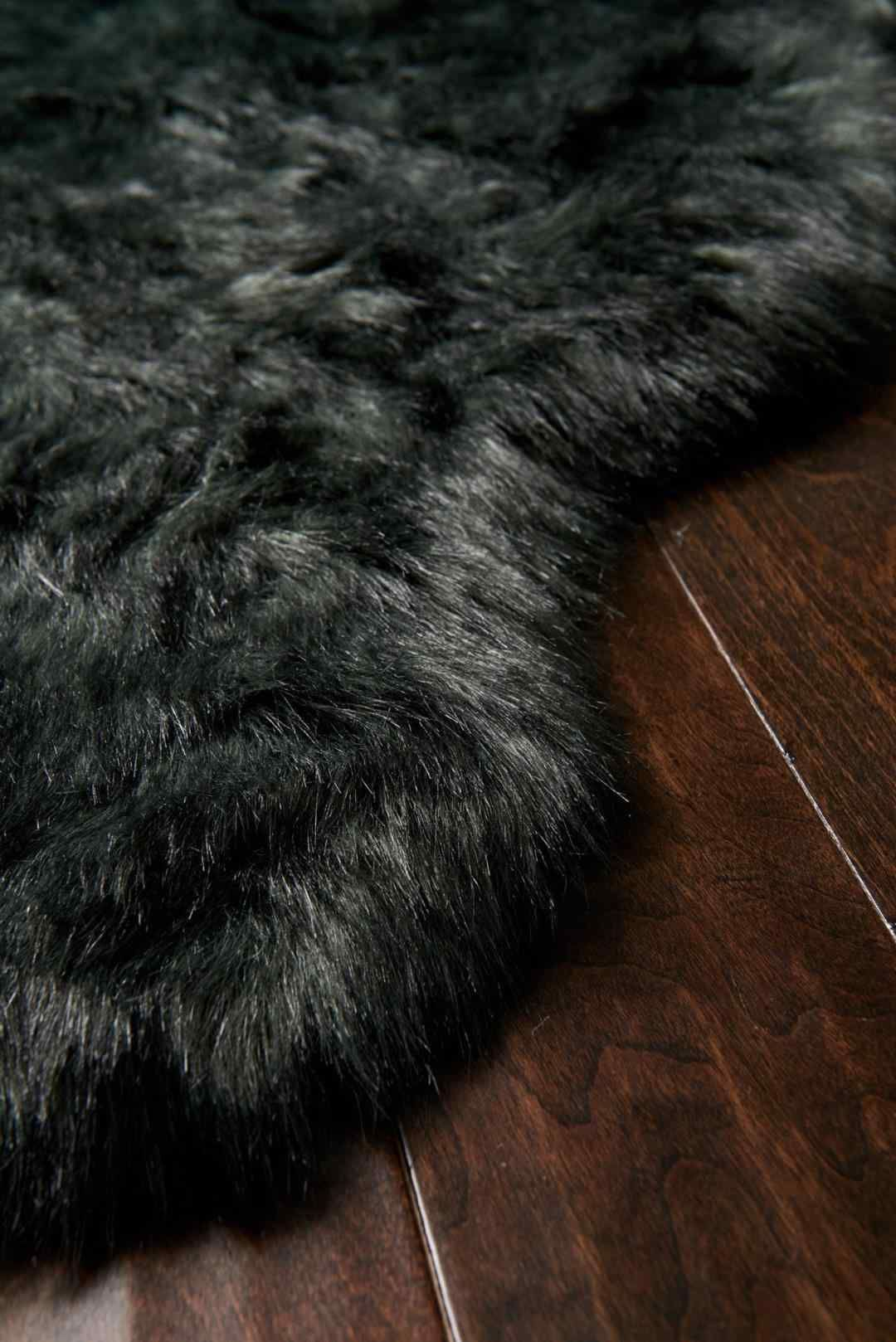 Faux Fur Rug Black