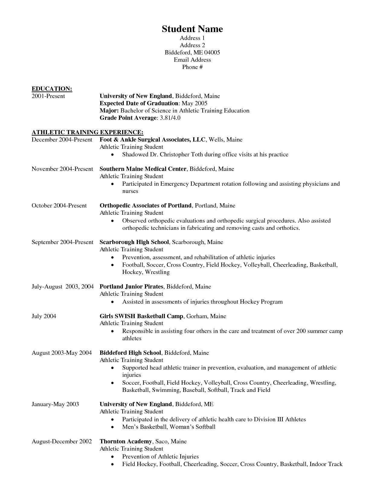 athletic resume template templates and builder sample certified trainer training full - Athletic Resume Template