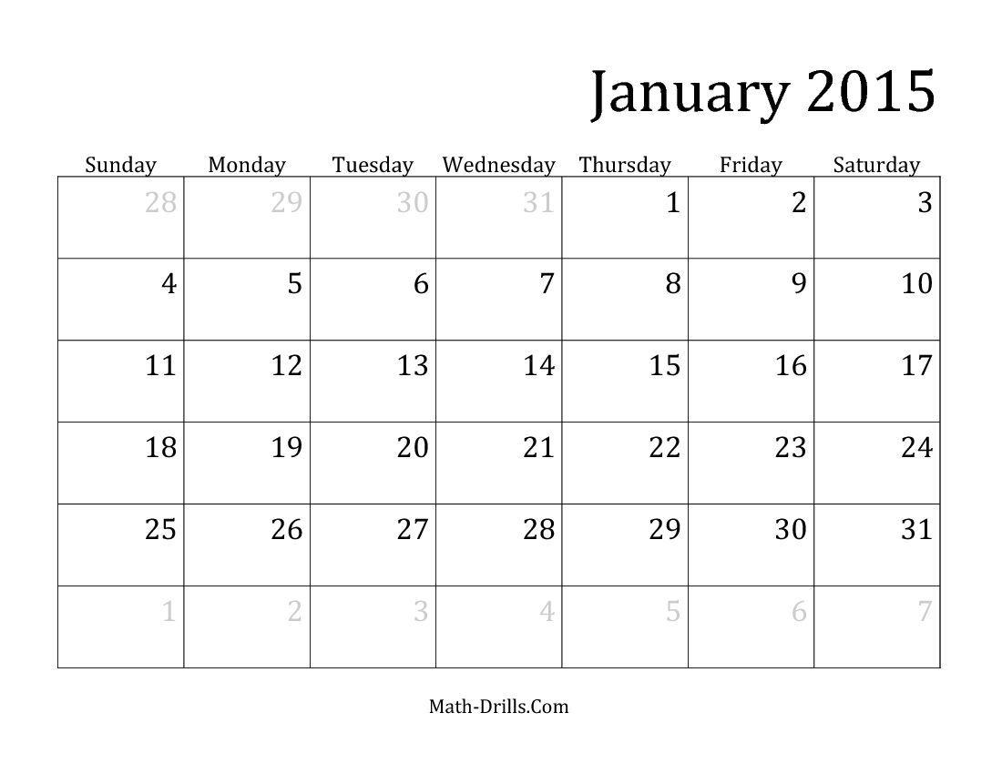 Monthly Calendar Math Worksheet Freemath