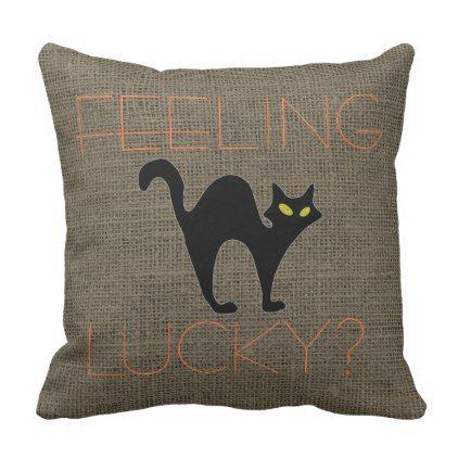 Rustic Halloween · Rustic Halloween Spooky Black Cat Burlap Throw Pillow   Funny  Quotes ...